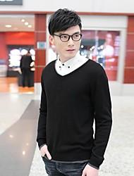 Мужская V шеи сплошной цвет хлопка с длинным рукавом свитера