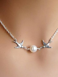 Women's European Fashion Birds Imitation Pearl Alloy Skinny Pendant Necklace (1 Pc)