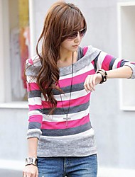 listras casual das mulheres yisyi t-shirt de manga comprida