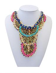 Women's Ethnic Mini Beads Pave Layers Fancy Bib Statement Necklace