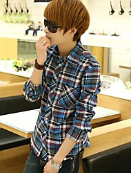 Men's Long Sleeve Shirt , Cotton Casual/Work/Formal Plaids & Checks