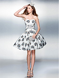 Cocktail Party / Prom Dress - Print Plus Sizes / Petite A-line Sweetheart Knee-length Stretch Satin