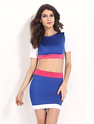 Women's Alluring Sexy Cropped Top and Skirt Set Suit(Shirt&Shirt)