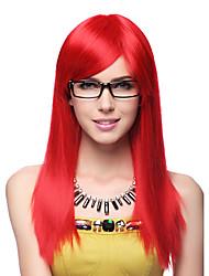 Stern Teacher Red Synthetic Fiber 60cm Women's Halloween Party Wig