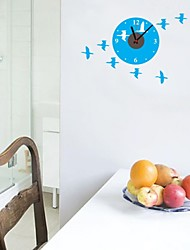 zooyoo® электронные часы батареи DIY синий фоном с птицами настенные часы стикер стены домашнего декора для комнаты