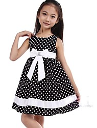 Girl's Black Dot Bow Party Pageant Wedding Children Clothes Lovely Dresses