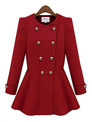 GYS Women's Double Breast Long Sleeve Fashionable Elegant Coat