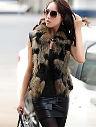 coko&van de vrouwen nieuwe Koreaanse imitatie vos vierkante kraag gelede leer bont slanke korte vest