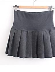 Damenmode Fest hohe Taille Falten-Minirock