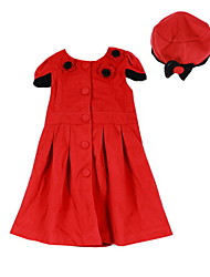Girl's Dress+Hat Red Flower Short-Sleeve Woolen Baby Princess Kids Spring and Autumn Dresses