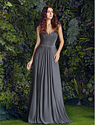 Lanting Floor-length Jersey Bridesmaid Dress - Silver Plus Sizes / Petite Sheath/Column Sweetheart