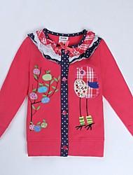 мультфильм птиц девушки вышивка цветы печатные длинным рукавом девочек и девушек Пальто случайный печать