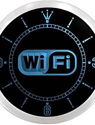 logotipo wi fi sinal de néon serviços de internet livre levou relógio de parede