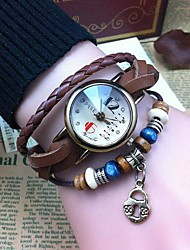 Women's Retro High Quality Small Lock Leather Quartz Movement Bracelet Watches