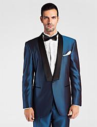 (Premium) noir&polyeter bleu foncé coupe près du corps en deux parties smoking