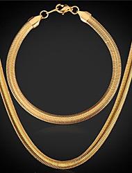 U7® 18K Chunky Gold Plated Snake Chain Necklace Bracelet Set 5MM 55CM