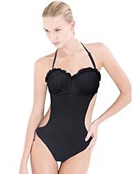 preto sólido vermelho um swimwear das mulheres / peça, halter sexy