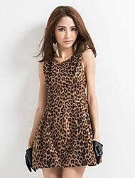 européen robe de gilet de léopard sexy de style de robe de tutu de taille mince des femmes