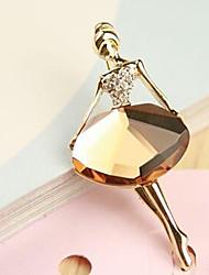 Lucky Doll  Diamonade Gemstone & Crystal Zirconia ballet girl Brooch