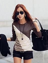 women'sdecorative tornar vestuário superior sem forro tshirts de mangas compridas