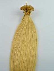 100strands / pack loira 100% brasileiro queratina das unhas ponta dourada extensões de cabelo humano