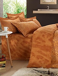 H&C ®  Thicken Cotton Sanded Fabric Duvet Cover Set  4 Pieces Flower Pattern Light Brown Yellow Multi-Color
