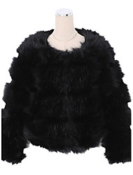 Long Sleeve Collarless Artifical Fox Fur Casual/Office/Party/Wedding Occasion Coat