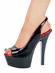 Women's Summer Heels / Platform Leatherette Dress Stiletto Heel Buckle Black