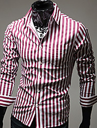 Dikaf Men's Leisure Stripe  Shirts