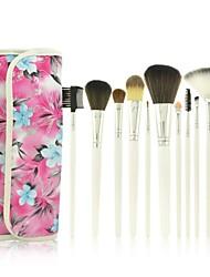 12Pcs Rose Professional Makeup Brush Set (Red)