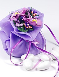 10  PCS  Double Layer Purple Chiffon Wedding Favor Bags Drawstring Pouch with Handmade Flower for Luxury Party