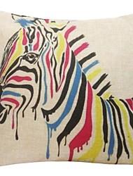 """createforlife® 18 """"Retro Karikatur bunten Zebra Baumwoll-Leinen-Quadrat dekorative Kissenbezug"""