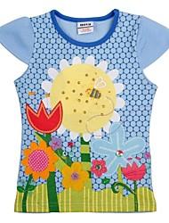 la camiseta de las flores de cuello redondo de la muchacha del bordado de manga corta camiseta de los niños del verano camiseta de impresión al azar