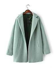 Women's Trench Coat,Solid Long Sleeve Spring / Fall / Winter Green Cotton / Others Medium
