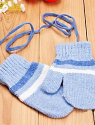Children's Warm Cartoon Stripe Cashmere Knitting Gloves(Random Delivery)