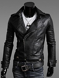 Men's Fashion Leisure Lapel Leather Outerwear