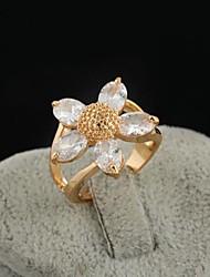 Women's Fashion Flower Design 18K Gold Zircon Ring