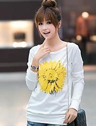 Damen Druck Einfach / Street Schick Lässig/Alltäglich T-shirt,Rundhalsausschnitt Herbst / Winter Langarm Weiß Andere Undurchsichtig