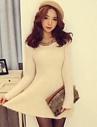 colla moda de manga comprida vestido de malha fina feminina