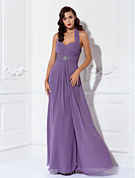 Floor-length Chiffon Bridesmaid Dress - Purple Plus Sizes / Petite Sheath/Column Halter