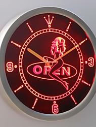 nc0253 direct décapant nu ouvert enseigne au néon conduit horloge murale