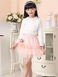 Girl's Fashion Sweet Lace Lapel Long Sleeve Shirt