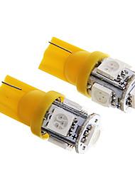 t10 1W 100lm 5 x 5050 SMD LED gelbes Licht für Armaturenbrett / Tür / trunk Lampen (12 V DC 2 Stück)