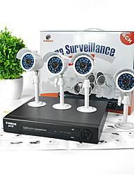 kavass® kit 4 canaux CCTV DVR (p2p, h. 264, 4 mini-extérieur 520TVL caméras couleur imperméables)