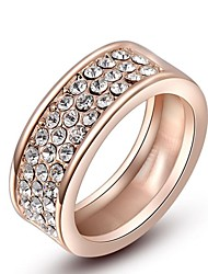 Classic Small Pieces Clear Austrian Crystals Rose Gold Plated Round Ring  Party Jewelry