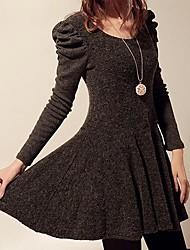 De las mujeres Vestido Casual / Bonito Sobre la rodilla Mezclas de Lana