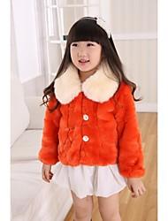 Thick Long Sleeve Turndown Faux Fur Kids Jacket(More Colors)