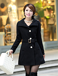 Women's Korea Sheath Wool Long Sleeve Long Coat