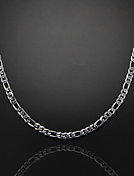 59cm,6mm,Silver-Plated Figaro Chain Men's Chain Necklace,Uneasy Fade Jewelry Christmas Gifts
