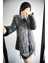 z.y.p женская искусственный мех тонкий длинный рукав пальто